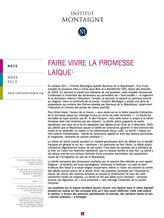 faire vivre la promesse laque - Resume Science Islamique Bac